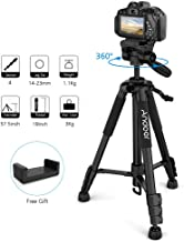Andoer Camera Tripod Lightweight, 57.5inch Travel Lightweight Camera Tripod 3-Way Pan Head for Photography Video Shooting Support DSLR SLR Camcorder with Carry Bag Phone Clamp Max.Load 3kg