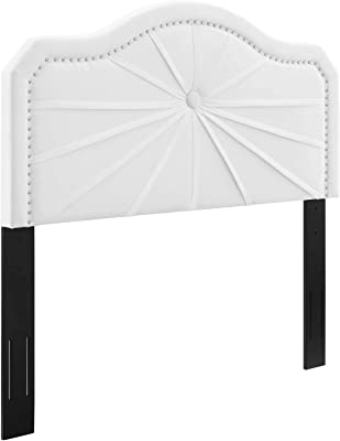 Modway Kristin Pleated Performance Velvet Twin Headboard in White with Nailhead Trim