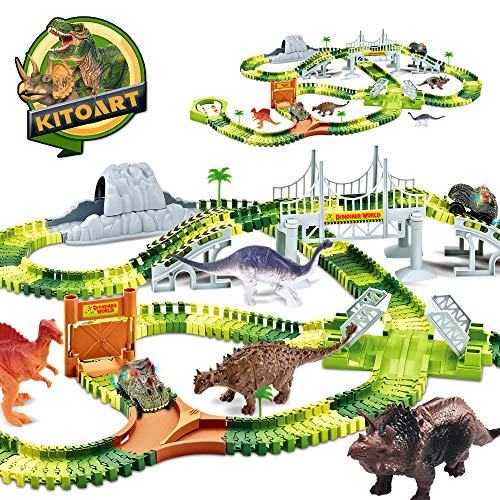 KITOART Dinosaur Toys-258 Pcs Create A Dinosaur World Road Race, Dinosaur Race Track-Flexible Assembly of Various Track Devices & 2 Cool Dinosaur Car, Best Gift for Kids-3 4 5 6 Year Old Boys Girls