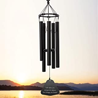 Wind Chimes Outdoor Deep Tone, 30 Inches Amazing Grace Wind Chime with 5 Metal Tuned Tubes, Black Elegant Memorial Wind Chimes for Friends, Family, Metal Wind Bell Chime for Home, Garden