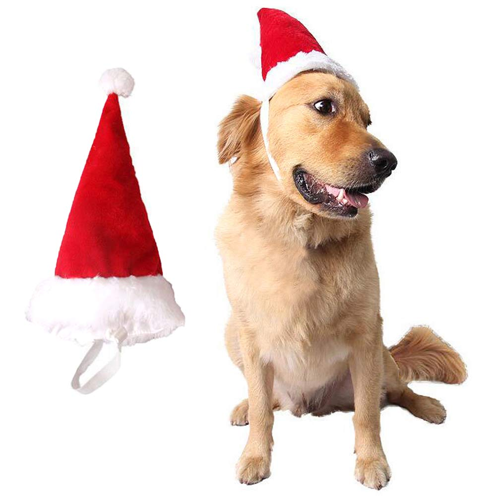 Bolbove Big Christmas Hat and Santa Collar with Bell for Medium to Large Dogs