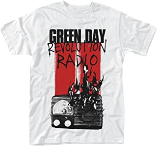 Tee Shack Green Day Radio Combustion Revolution Radio Oficial Camiseta para Hombre