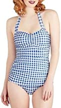 product image for Esther Williams 1950s Style Royal Blue & White Gingham One Piece Swimsuit Size 12