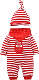 Vine Vine Neugeborenes Baby 3 Pcs Strampler Spielanzug Baumwolle Langarm Baby Outfits Unisex Kleinkinder Streifen Jumpsuits mit Hut & Geifer-Lätzchen rot