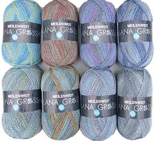 theofeel Sockenwolle Paket Lana Grossa Meilenweit Shadow Stretch, 4 fädig, 8X 100g, 4 Fach Sockenwolle mit Baumwolle und Farbverlauf
