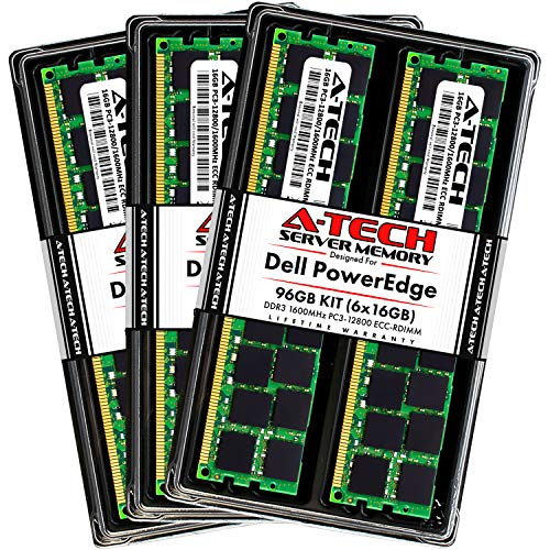 A-Tech 96GB (6x16GB) RAM for Dell PowerEdge R320, R420, R420XR, R520, R620, R720, R720XD, R820, R920 | DDR3 1600MHz ECC-RDIMM PC3-12800 2Rx4 1.5V ECC Registered DIMM Server Memory Upgrade Kit