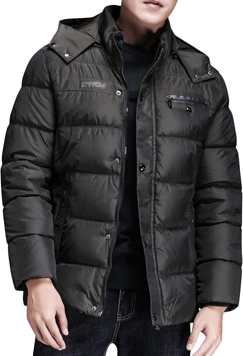 UANEO Men's Winter Casual Button Zip Puffer Coat Jacket with Detachable Hood (Army Green, Large)