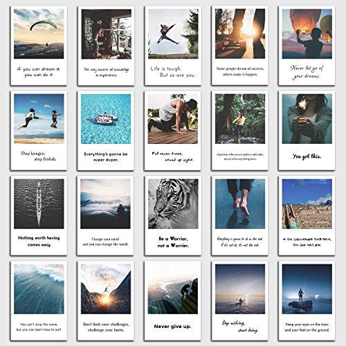 INDIVIDUAL NOMAD® Postkarten 20er Set Motivation | Sprüche und Zitate die Sie zu großem anspornen | Im Retro-Polaroid Style