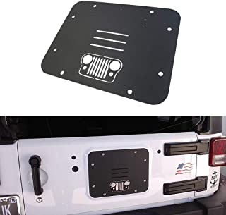 SUPAREE Tailgate Vent-Plate Cover, Spare Tire Carrier Delete Filler Plate Tramp Stamp for 2007-2017 Jeep Wrangler JK & Unlimited (Grille)