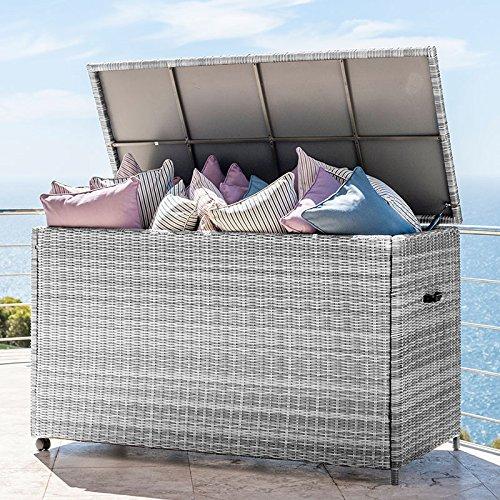 Nova - Caja de Almacenamiento para Muebles de jardín de ratán para Exterior, tamaño Grande, Color Blanco