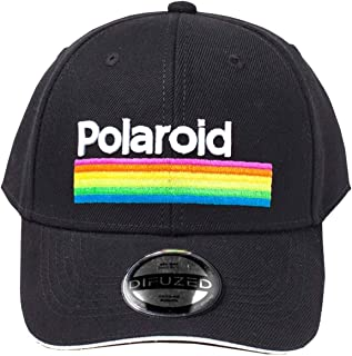 Polaroid Baseball Cap Retro Stripes Logo Official Black Curved Bill Snapback