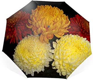 Earth Chrysanthemum Flowers Red Yellow Travel Umbrella with Windproof Double Canopy - Auto Open/Close Button