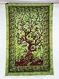 Sophia Art Wandteppich mit keltischem grünen Baum, indischer Hippie-Wandbehang, Bohemian-Tagesdecke, Mandala-Baumwolle, Wohnheim-Dekoration, Stranddecke (gelb)