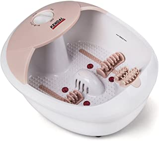 All in one foot spa bath massager w/heat, HF vibration, O2 bubbles red light (Pink)