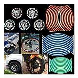LHJ-fashion Reflektierende Motorrad (und Automobil) Randaufkleber/Bänder passen 18 Zoll (20 Streifen) (Farbe : White)