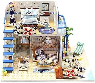 XYZMDJ Miniatyr dockhus kit, trä gör-det-själv dockhus kit Light Blue Coast, hantverk trä dockhus modell kit gåvor