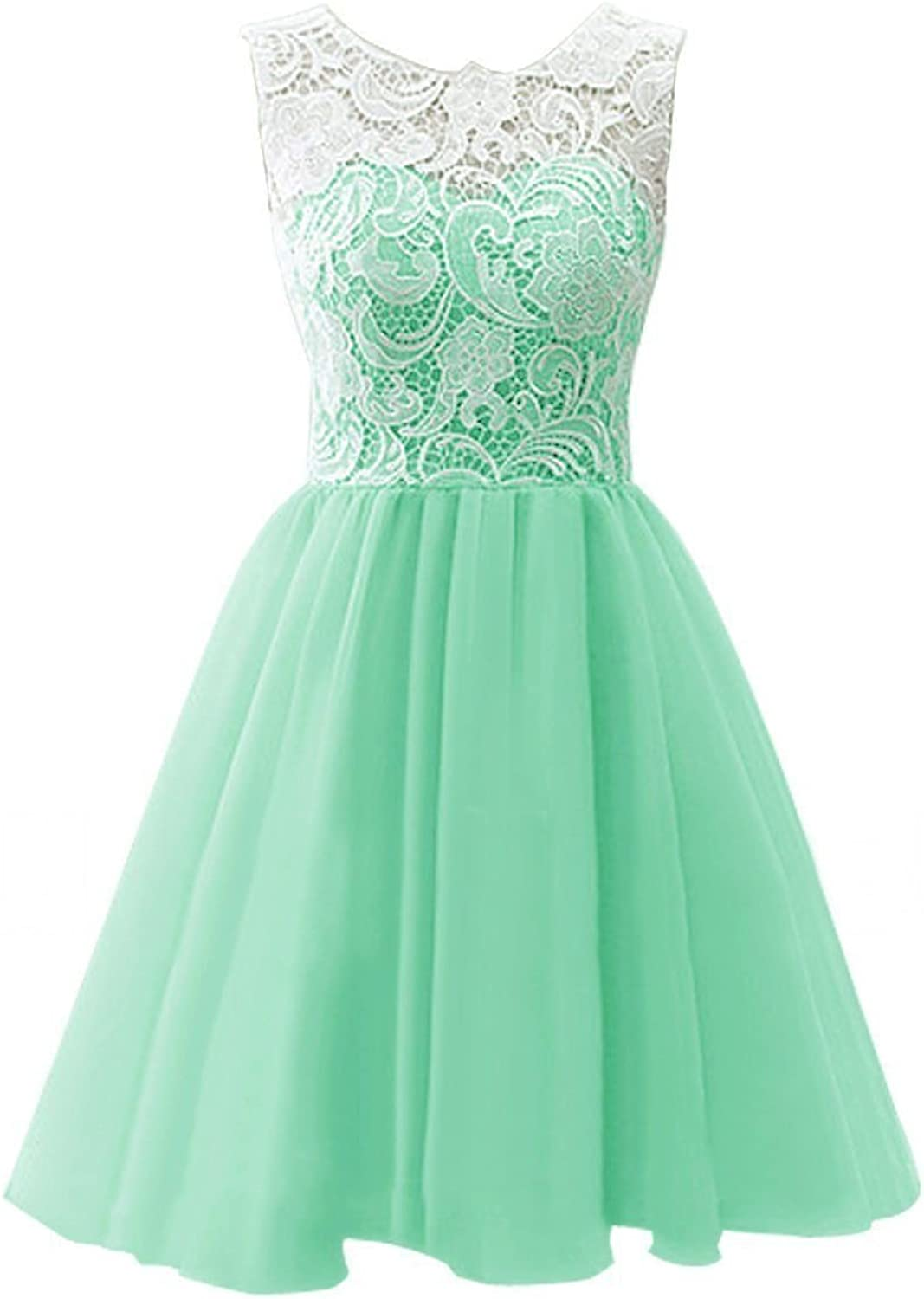 EllieHouse Women's Short Scoop Neckline Lace Prom Gown Homecoming Dress SH04
