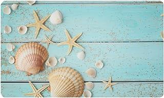 InterestPrint Summer Blue Wooden Seashell Starfish Doormat Non-Slip Indoor and Outdoor Door Mat Rug Home Decor, Entrance R...