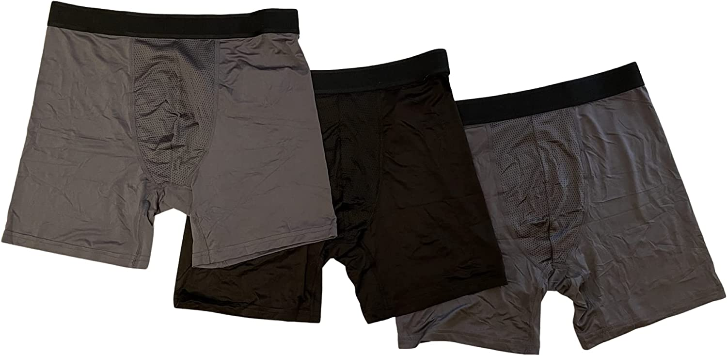 Athletic Works Mens Mesh Boxer Briefs, 3-Pack (Charcoal Sky, Black Soot) (l)