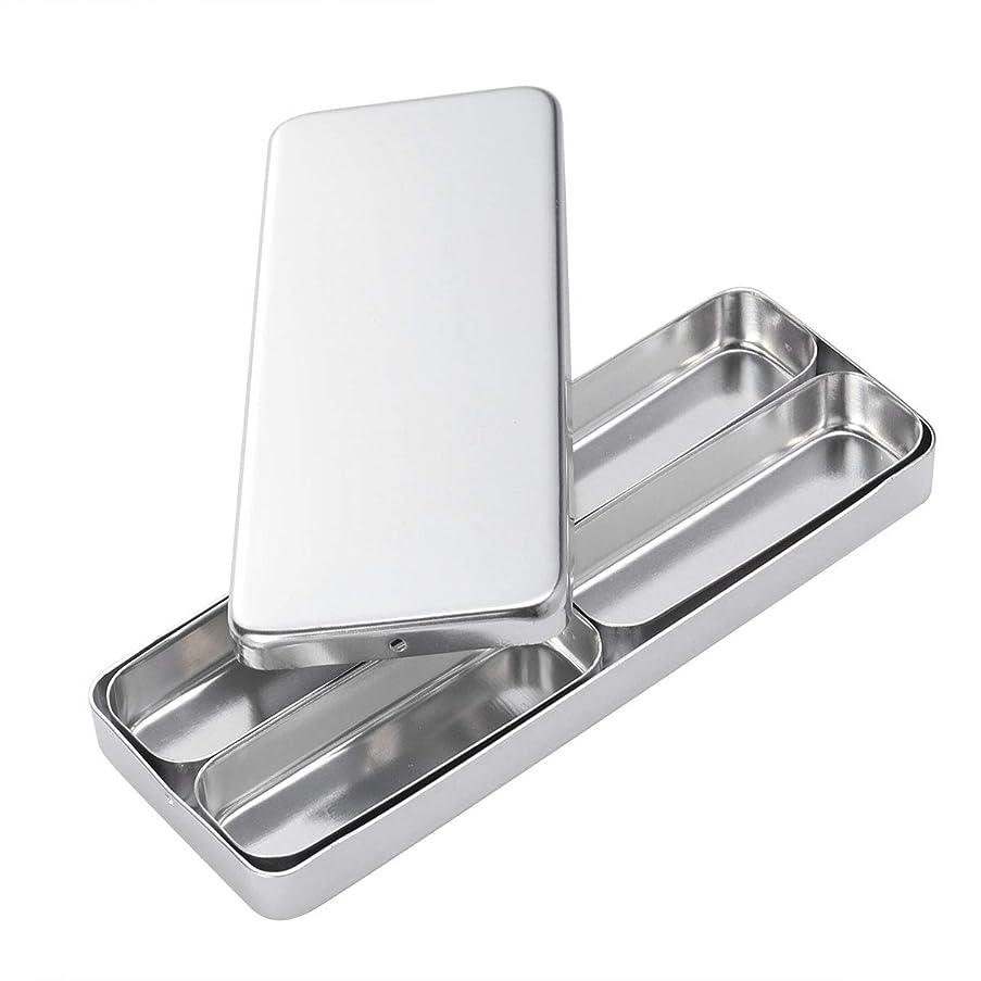 無効にする鼓舞するソビエトHealifty 歯科材料の針の消毒箱4つのコンパートメントアルミニウム消毒箱の銀