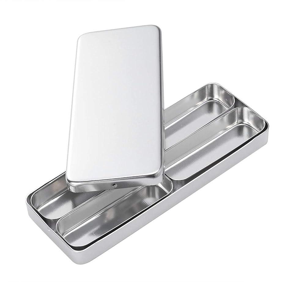 壊滅的な請求ディレクターHealifty 歯科材料の針の消毒箱4つのコンパートメントアルミニウム消毒箱の銀