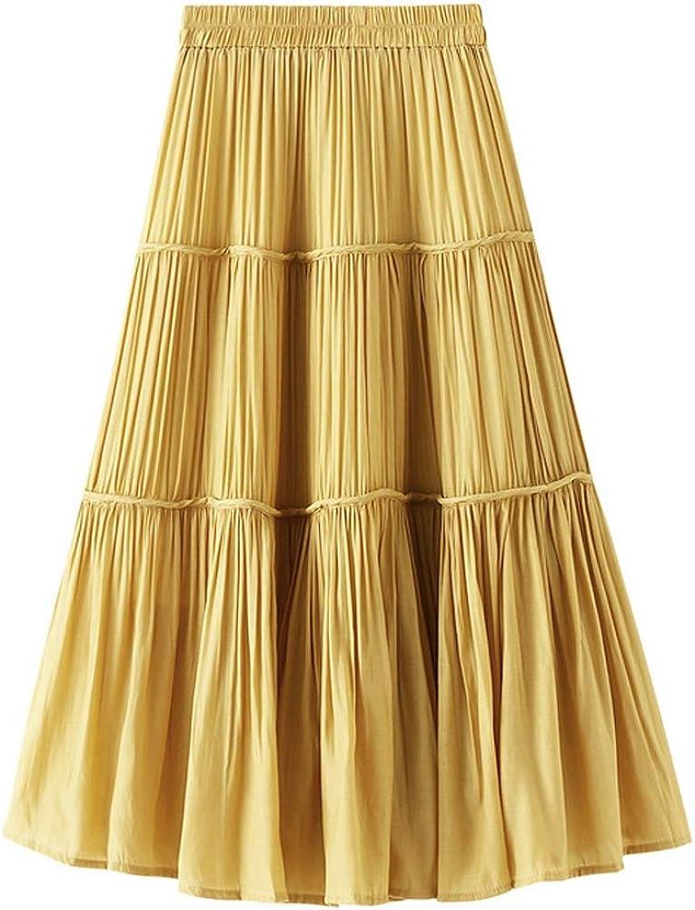 Women Casual Fashion Vintage Yellow Pleated Midi Skirt with Elastic Waist