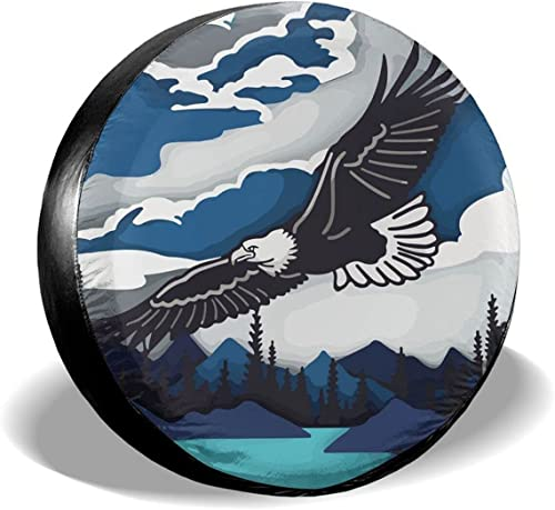 """high quality Gwomo Eagle Spare Tire Cover Wheel Protectors Tyre Covers Weatherproof Wheel 2021 Covers Universal Fit for Trailer Rv sale SUV Truck Camper Travel Trailers 14"""" 15"""" 16"""" 17"""" outlet online sale"""