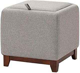 DWLXSH DIY Soft Foot Rest Stool Square Linen Fabric Sofa Stool Small Seat Modern Furniture,Folding Storage Ottoman Footstool Toy Box Double Seat Bench Linen (Color : C)