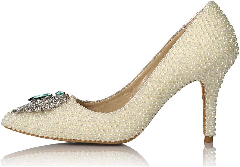 Lindarry Pumps for Damen 8,5 cm Absatz Stilettos Closed Toe Slip On Spitzen Glitter Hochzeitsfeier mit Smaragd Strass Premium Leder Mode (Farbe   Weiß, Größe   34 EU)