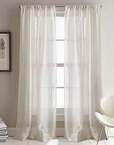 DKNY City Sky Sheer Window Curtain Panel Pair, 96-inch, Ivory
