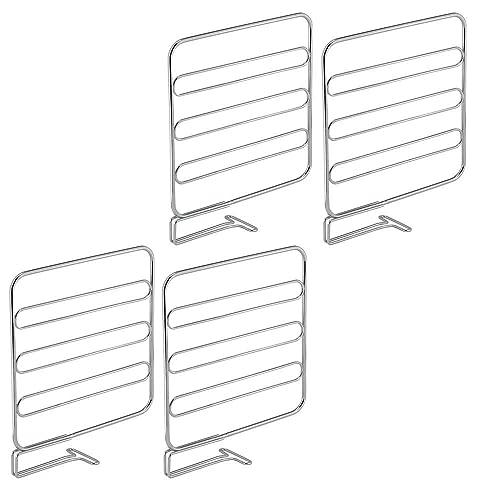 mDesign Juego de 4 separadores metálicos para organizar armarios y estanterías – Prácticos divisores de estantes
