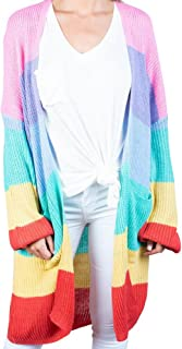Womens Long Striped Oversized Rainbow Cardigan Sweater Open Front Cable Chunky Knitwear with Pockets
