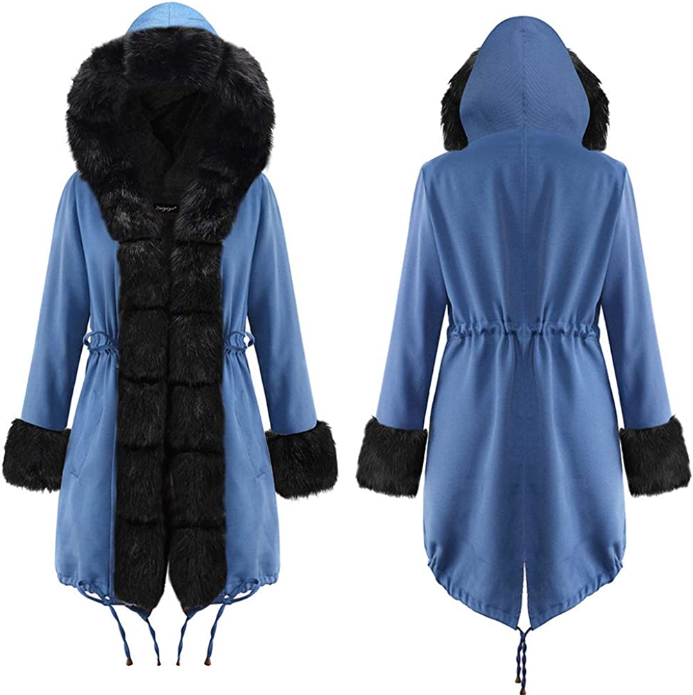 OranDesigne Damen Winter Jacke Mantel Parka Winterjacke Kurzmantel Kapuzenjacke Wintermantel Blau-schwarz