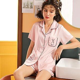 WJFGGXHK Pijama De Verano Mujer,La Moda De Verano De Mujeres De Dos Piezas con Solapa Cardigan Patrón Conejo Rosa De Manga Corta Delgada Shorts Pijamas De Ocio De Gran Tamaño Inicio Ropa,XL