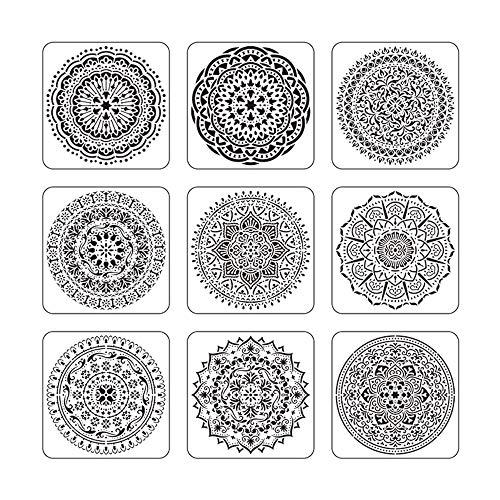 Zasiene Plantilla de Mandala 6 Piezas Stencil Mandala Plantilla Mandala Plantillas Diseño de Mandala para DIY Grabado Pintar Manualidades Arte De Pared Stencils,30.5x30.5cm