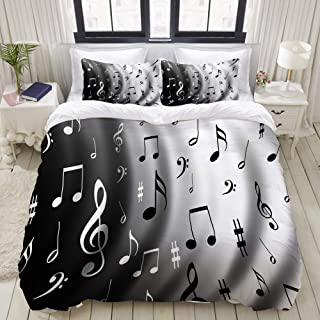 ALLMILL Duvet Cover Queen/Full Beat of Music Notes Compose Composition Flag Guitar Instrument Musical Musician Bedding Set with Zipper, 88inx88in