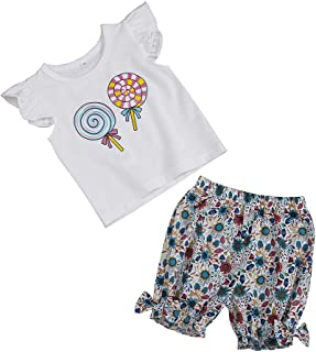 Toddler Baby Girl Summer Outfits Ruffle Sleeve Lollipop Tops+ Short Floral Pants Little Girls Clothing 2Pcs