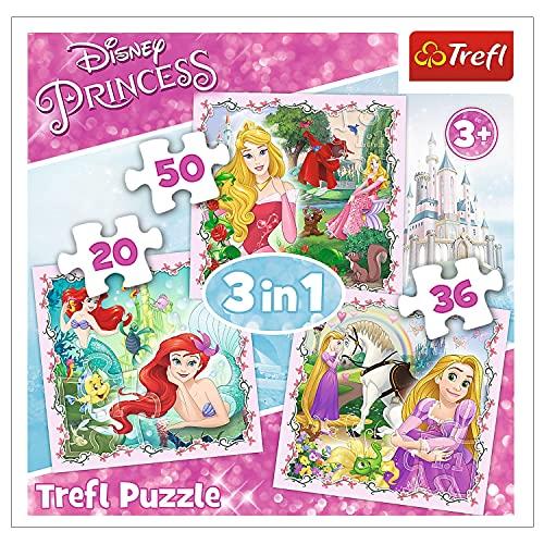 Trefl, 34842 Puzzle, Rapunzel, Aurora und Ariel, von 20 bis 50 Teilen, 3 Sets, Disney Princess, für Kinder ab 3 Jahren