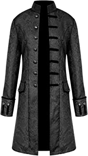 17th 18th Century Gothic Steampunk Medieval Jacquard Mandarin Collar Jacket Trench Coat Outwear Windbreake