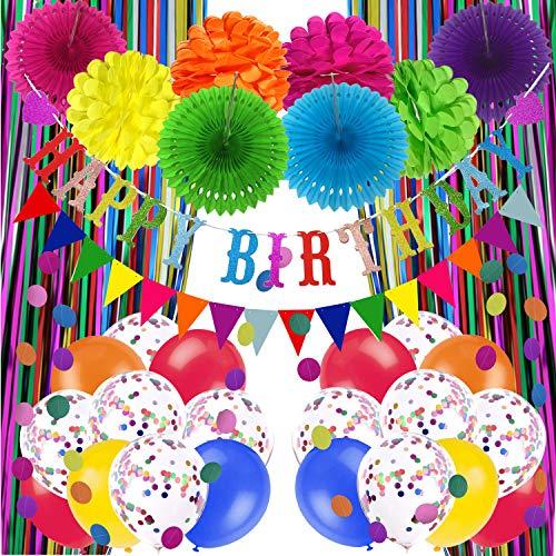Recosis Decoraciones para Fiesta de Cumpleaños, Pancarta Multicolor de feliz Cumpleaños, Cortinas, Pompones y Abanicos de Papel, Guirnalda, Globos de Confeti para Decoraciones de Fiesta de Cumpleaños