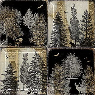 Forest Trees and Animal Handmade 4 or 5 Inch Square Glass Bevel Coaster Set from Upcycled Dictionary page book art - WilD ...