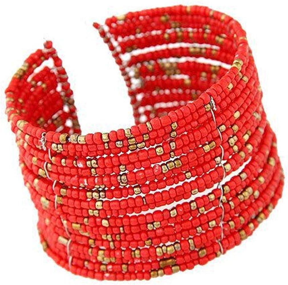 YAZILIND Bohemian Stackable Multi Layer Beads Bracelet Cuff Bangle Jewelry for Women Lady Girls