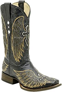 Mens Square Toe Wing and Cross Inlay Boot