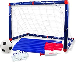 Deerbb Football Door Toy Set 60cm for Boys 3 4 5 6 Years Old, Kids Gift Age 7 8 9 10 Yr Sport Soccer Ball Goals with Net for Backyard Outside Playset Outdoor Play Toddler Girls