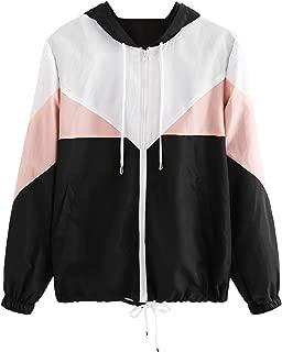Women's Color Block Drawstring Hooded Zip Up Lightweight Rain Jacket Hooded Windbreaker