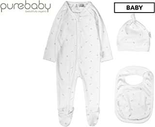 Purebaby 3 Piece Set, Pale Grey Leaf W Spot, 0-3 M