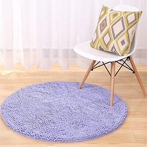 Quibine Tapis Rond Carpet Sol Maison Decoration Tapis Chenille Lavande, Diamètre 100CM