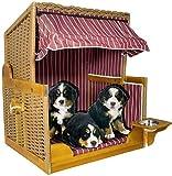 Trendyshop365 Hundestrandkorb Hundebett Sitzhöhe 70cm für kleine & mittlere Hunde Farbe rot-weiß