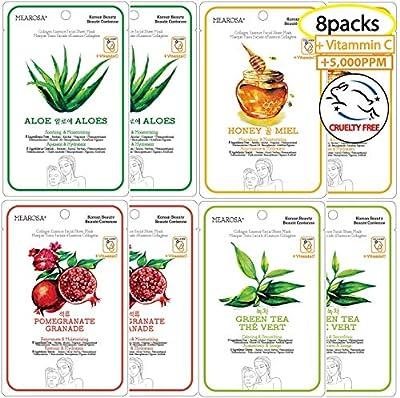 MEAROSA Facial Sheet Mask Korean SkinCare premium Quality Vitamin C Collagen Essence Sensitive skin(8 Sheet Variety pack) by Joy Canada Trade Ltd