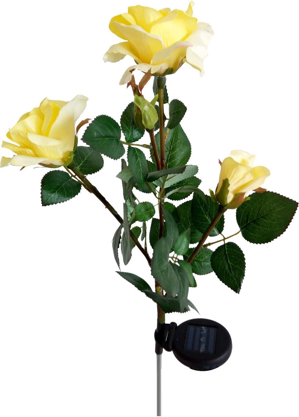 Solar Yellow Rose Flower Lights De online shopping Powered High order Outdoor Garden
